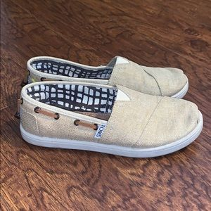 Kid's TOMS Khaki Slip On Shoes Sz 3.5Y